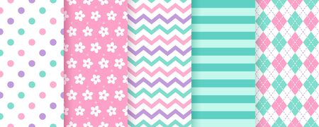 Scrapbook background. Vector. Cute seamless pattern. Chic paper. Set textures with polka dots, stripe, zigzag, flower, rhombus. Retro print. Modern pastel illustration. Geometric trendy color backdrop Ilustração