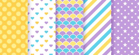 Seamless pattern for scrapbooking. Vector. Cute background. Set textures with polka dots, stripe, zigzag, triangle, crown. Chic packing paper. Trendy print. Modern pastel illustration. Color backdrop
