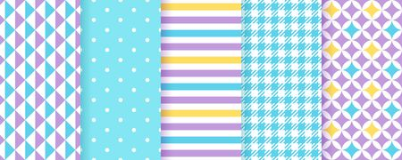 Scrapbooking paper. Seamless background. Vector. Cute pattern. Set blue purple texture with stripes, polka dot, triangle, check. Chic trendy print. Modern pastel illustration. Color geometric backdrop