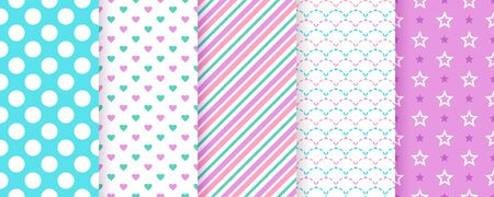 Scrapbook background. Seamless pattern. Vector. Cute scrap design. Textures with polka dot, stripe, heart, star, fish scale. Chic packing paper. Trendy blue purple print. Color backdrop illustration. Ilustração