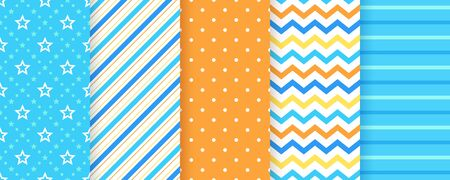 Scrapbook pattern. Vector. Seamless background. Cute textures with polka dots, stripes, zigzag and stars. Set chic packing paper. Trendy frame print. Modern illustration. Color blue backdrop.