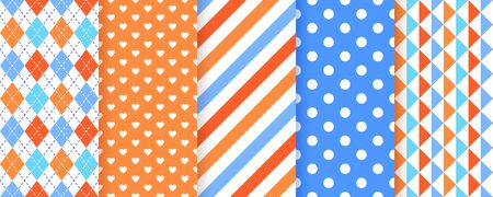 Scrapbook background. Seamless pattern. Vector. Cute scrap design. Textures with stripe, polka dot, heart, rhombus, triangle. Chic packing paper. Trendy blue orange print. Color backdrop illustration. Ilustração
