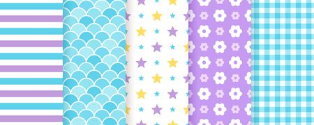 Scrapbook background. Seamless pattern. Vector. Cute textures with stripe, star, fish scale, flower and check. Set chic packing paper. Trendy purple blue print. Modern illustration. Color backdrop.