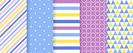 Scrapbook background. Seamless pattern. Vector. Cute textures with stripes, polka dots and triangle. Set chic packing paper. Trendy purple blue yellow print. Modern illustration. Color backdrop.