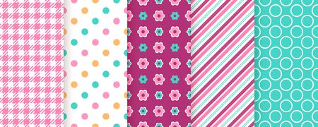 Scrapbook pattern. Seamless background. Vector. Cute textures with check, polka dots, stripes, and flower. Set chic packing paper. Trendy frame print. Modern illustration. Color backdrop.