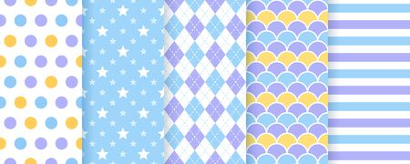 Scrapbook background. Vector. Seamless pattern. Cute prints for scrap design. Chic paper with polka dot, triangle, heart and check. Trendy pink violet texture. Color illustration. Geometric backdrop.