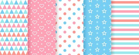 Scrapbook background. Seamless pattern. Vector. Cute scrap design. Textures with polka dot, heart, triangle, stripe, star. Chic packing paper. Trendy blue pink print. Color backdrop illustration.