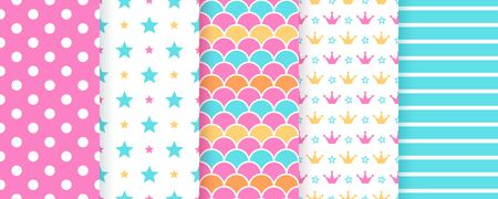 Scrapbook texture. Seamless pattern. Vector. Cute background for scrap design. Chic paper with polka dot, star, stripe, crown, fish scale. Trendy blue pink print. Color illustration Geometric backdrop