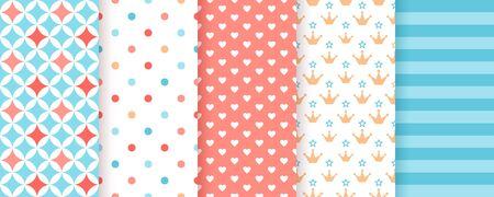 Scrapbook background. Seamless pattern. Vector. Cute print for scrap design. Textures with polka dot, heart, crown, stripe, star. Chic packing paper. Trendy blue pink backdrop. Color illustration. Ilustração