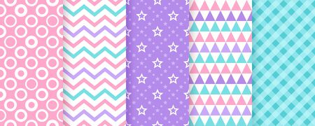 Scrapbook pattern. Seamless background. Vector. Cute textures with circles, zigzag, triangles, stars and check. Set chic wallpaper. Trendy print. Modern illustration. Color pink, blue, violet backdrop Ilustração