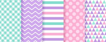 Scrapbook background. Vector. Seamless pattern. Cute textures for scrap design. Chic paper with polka dot, stripe, zigzag, triangle, check. Trendy pink green purple print. Color backdrop illustration.