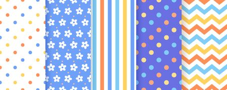 Scrapbook seamless pattern.. Vector. Cute backgrounds. Textures for scrap design. Chic paper with polka dot, stripe, zigzag, flower. Trendy blue yellow print. Color backdrop illustration.