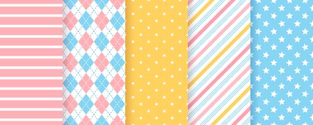 Scrapbook background. Vector. Seamless pattern. Cute textures for scrap design. Chic paper with polka dot, stripe, star, rhombus. Trendy pink blue print. Color illustration. Geometric backdrop.