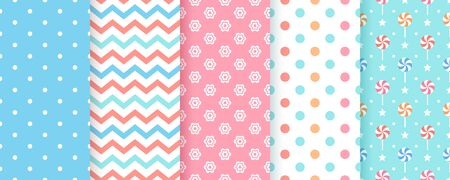 Scrapbook background. Vector. Seamless pattern. Cute prints for scrap design. Chic paper with polka dot, zigzag, flower and lollipop. Trendy pink blue texture. Color illustration. Geometric backdrop.