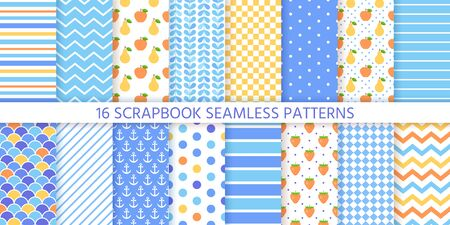 Scrapbook background, seamless pattern. Vector. Cute paper for scrap design. Chic print with polka dot, stripe, zigzag, fruits, check, fish scale. Trendy texture. Color illustration Geometric backdrop Ilustração