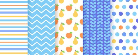 Scrapbook seamless pattern. Vector. Cute background for scrap design. Chic print with polka dot, stripe, zigzag, fruits. Trendy texture. Wrapping paper. Color illustration Geometric backdrop
