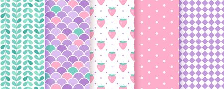 Scrapbook background. Vector. Cute seamless pattern for scrap design. Chic print with polka dot, rhombus, fish scale, strawberry. Trendy texture. Wrapping paper. Color illustration Geometric backdrop