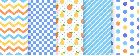 Scrapbook background. Vector. Seamless pattern for scrap design. Cute chic print with polka dot, stripe, zigzag, fruit, check. Trendy summer texture. Paper pack. Color illustration. Geometric backdrop Ilustração