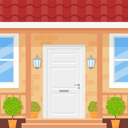 Front door house. Vector. Home porch with door, stairs, window, plant. Building entrance, doorstep. Townhouse facade, exterior. Outside architecture. Flat design. Modern apartment Cartoon illustration Ilustração