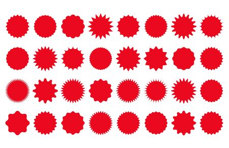 Starburst price sticker. Vector. Round burst star icon. Red circle shapes. Set sale tag badges. Sunburst callout label isolated on white background. Color illustration. Simple empty wave pricetag.