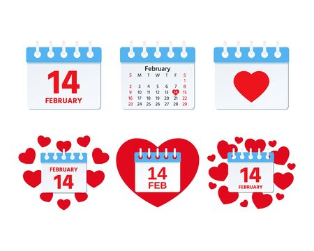 February 14 calendar icon. Valentines day. Vector. Page of calendar with symbols of Love, isolated on white background. Holiday date. Color illustration in flat design. Ilustração