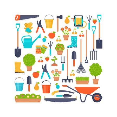 Garden tools. Vector. Gardening instruments. Horticulture set. Icons isolated on white background. Cartoon flat illustration for print, greeting card, banner stylized in square concept. Illustration