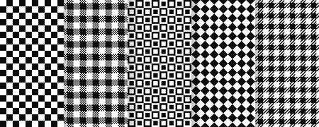 Chess seamless pattern. Vector. Plaid, checkered, square textures. Gingham pixel, buffalo textile background. Set retro tartan tile prints. Geometric black white simple design. Abstract illustration.