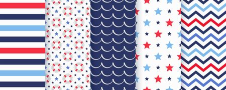 Nautical seamless pattern. Vector. Marine backgrounds with Lifebuoy, stripes, star, wave and zigzag. Set blue sea summer prints. Geometric texture for baby shower, scrapbook. Color illustration