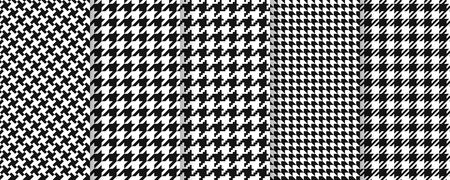 Houndstooth seamless pattern. Vector. Plaid tweed background. Geometric black white fabric with hound tooth.  Vintage checkered texture. Abstract woven dogtooth print 80s. Vogue pixel illustration.  Vettoriali
