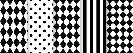 Harlequin seamless pattern. Vector. Black white background with rhombuses, stripes and polka dots. Circus grid tile texture. Diamond print. Geometric illustration.