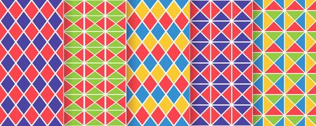 Harlequin seamless pattern. Vector. Circus background with rhombuses, triangles and squares. grid tile texture. Diamond print. Geometric illustration.