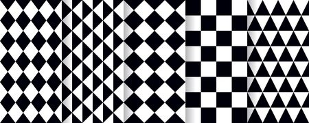 Harlequin seamless pattern. Vector. Black white background with rhombuses, triangles and plaid. Circus grid tile texture. Diamond print. Geometric illustration.