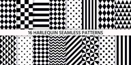 Harlequin seamless pattern. Vector. Black white background with rhombuses, triangles, stripes, dots and plaid. Circus grid tile texture. Geometric monochrome illustration. Set diamond prints. Vektorgrafik