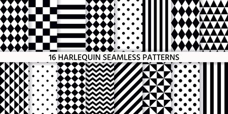 Harlequin seamless pattern. Vector. Black white background with rhombuses, triangles, stripes, dots and plaid. Circus grid tile texture. Geometric monochrome illustration. Set diamond prints. Vector Illustration