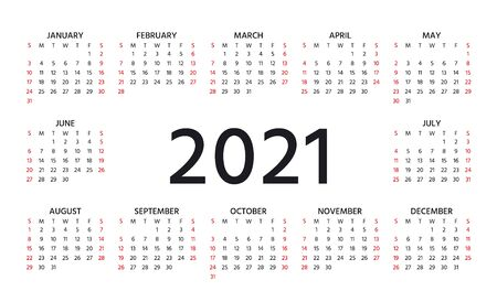 2021 Calendar. Week starts Sunday. Stationery year template. Vector. Yearly calender organizer with 12 months. Layout grid in minimal design. Landscape orientation, English