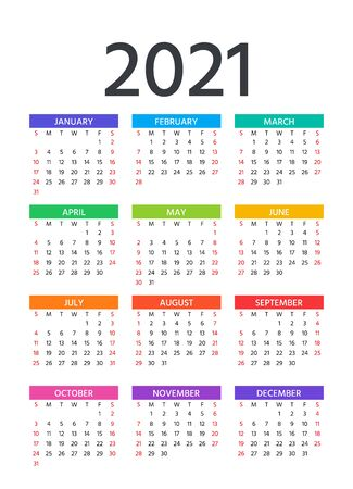 2021 Calendar. Vector. Week starts Sunday. Pocket calender year layout. Yearly organizer. Stationery template in minimal design. Portrait orientation, English.