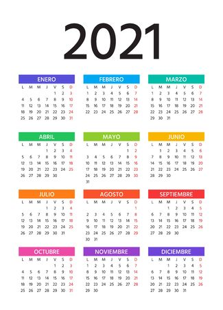 Spanish Calendar 2021 year. Vector. Week starts Monday. Simple template of pocket or wall Spain calenders. Yearly stationery organizer in minimal design. Portrait vertical orientation. Illustration.