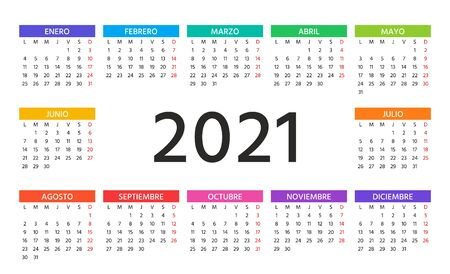 2021 Spanish Calendar. Week starts Monday. Vector. Simple template of pocket or wall Spain calenders. Yearly stationery organizer. Horizontal landscape orientation. Minimal design. Color illustration.