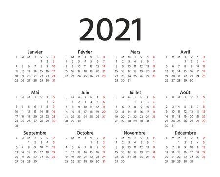 2021 French Calendar. Vector. Week starts Monday. 2021 year France calender template. Yearly stationery organizer in minimal design. Horizontal landscape orientation.