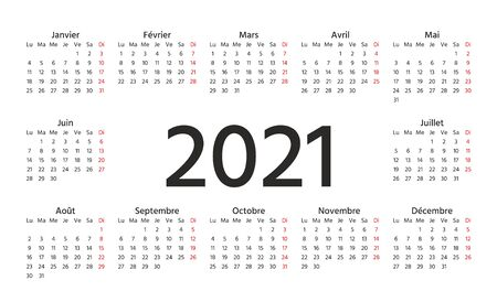 French Calendar 2021 year. Vector. Week starts Monday. France calendar template. Yearly stationery organizer in minimal design. Horizontal landscape orientation. Simple illustration.