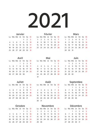 French Calendar 2021 year. Week starts Monday. Vector. France calendar template. Yearly stationery organizer in minimal design. Vertical, portrait orientation. Simple illustration.