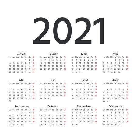 2021 French Calendar. Vector. Week starts Monday. 2021 year France calendar template. Yearly stationery organizer in minimal design. Simple illustration in french language.