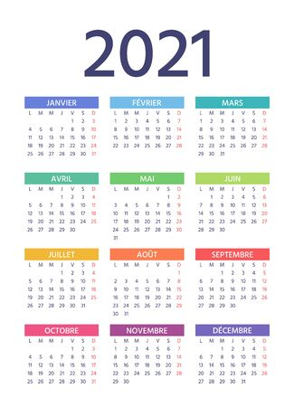 French Calendar 2021 year. Week starts Monday. Vector. Simple template of pocket or wall France calendars. Yearly stationery organizer. Vertical, portrait orientation. Colorful illustration.