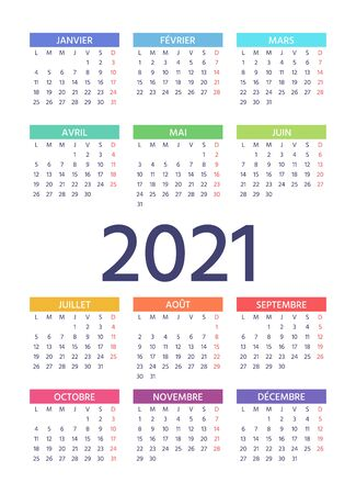 French Calendar 2021 year. Week starts Monday. Vector. Layout of pocket or wall France calenders. Yearly stationery organizer. Vertical, portrait orientation. Colorful illustration. Simple template.