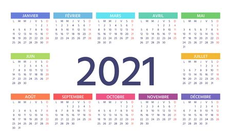 French Calendar 2021 year. Vector. Week starts Monday. France calendar template. Yearly stationery organizer. Horizontal landscape orientation. Simple pocket or wall layout. Colorful illustration.
