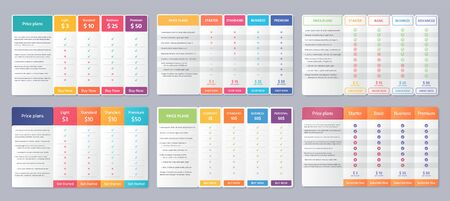 Table price template. Vector. Comparison plan chart. Set pricing data grid with 4 columns. Checklist compare tariff banner. Comparative spreadsheet with options. Color illustration. Flat simple design