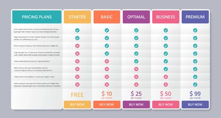 Table price template. Comparison plan chart. Vector. Pricing data grid with 5 columns. Checklist compare tariff banner. Comparative spreadsheets with options. Color illustration. Flat simple design