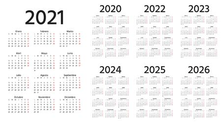 Spanish Calendar 2021, 2022, 2023, 2024, 2025, 2026, 2020 years. Vector. Week starts Monday. Simple template Spain calenders. Portrait vertical orientation. Yearly stationery organizer. Illustration.