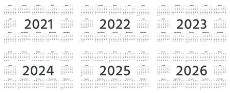 Spanish Calendar 2021, 2022, 2023, 2024, 2025, 2026 years. Week starts Monday. Vector. Spain calender template. Yearly stationery organizer. Horizontal landscape orientation. Simple illustration.