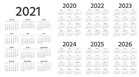 French Calendar 2021, 2022, 2023, 2024, 2025, 2026, 2020 years. Week starts Monday. Vector. France calender template. Yearly stationery organizer. Vertical, portrait orientation. Simple illustration.